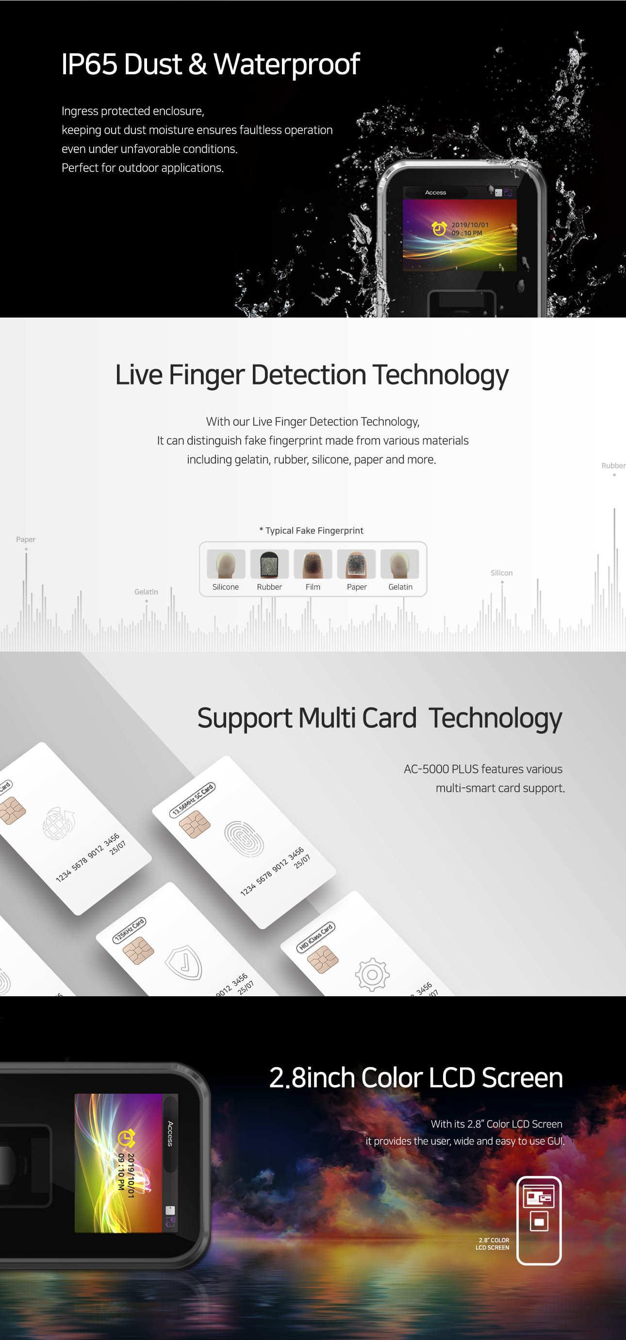 AC 5000PLUS 2, Virdi AC-5000PLUS RF IK09 Fingerprint & RFID POE Access Control & Time Attendance Terminal